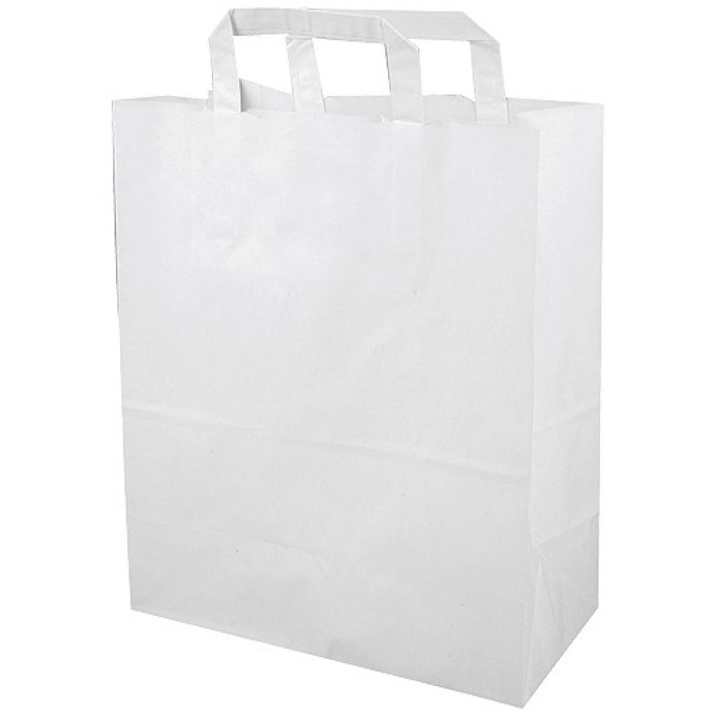 White kraft paper tote bag (80g/m²) 26x14x32 cm