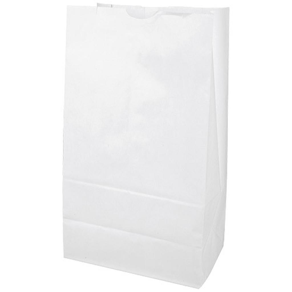 White kraft paper SOS bag with block bottom 80g/m² 25x15x43 cm