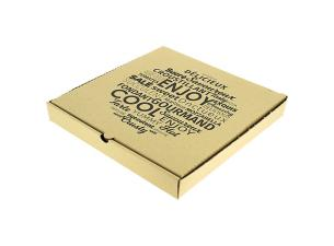 Brown cardboard pizza box 33x33x3,5 cm
