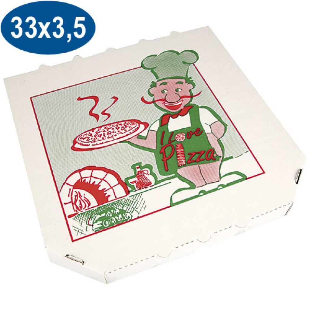 Boite pizza en carton coins coupés 33 cm