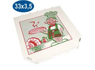 Cardboard pizza box with trimmed corners 33 cm