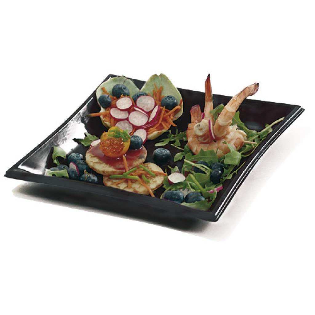 Assiette Vague en PS noire 21x21 cm