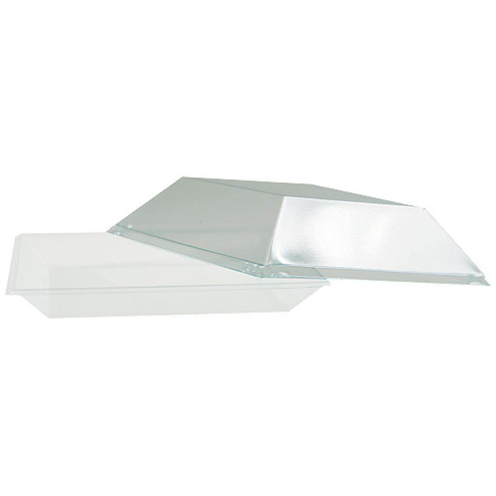 Assiette carrée en plastique  blanche de  10 cm et couvercle transparent.