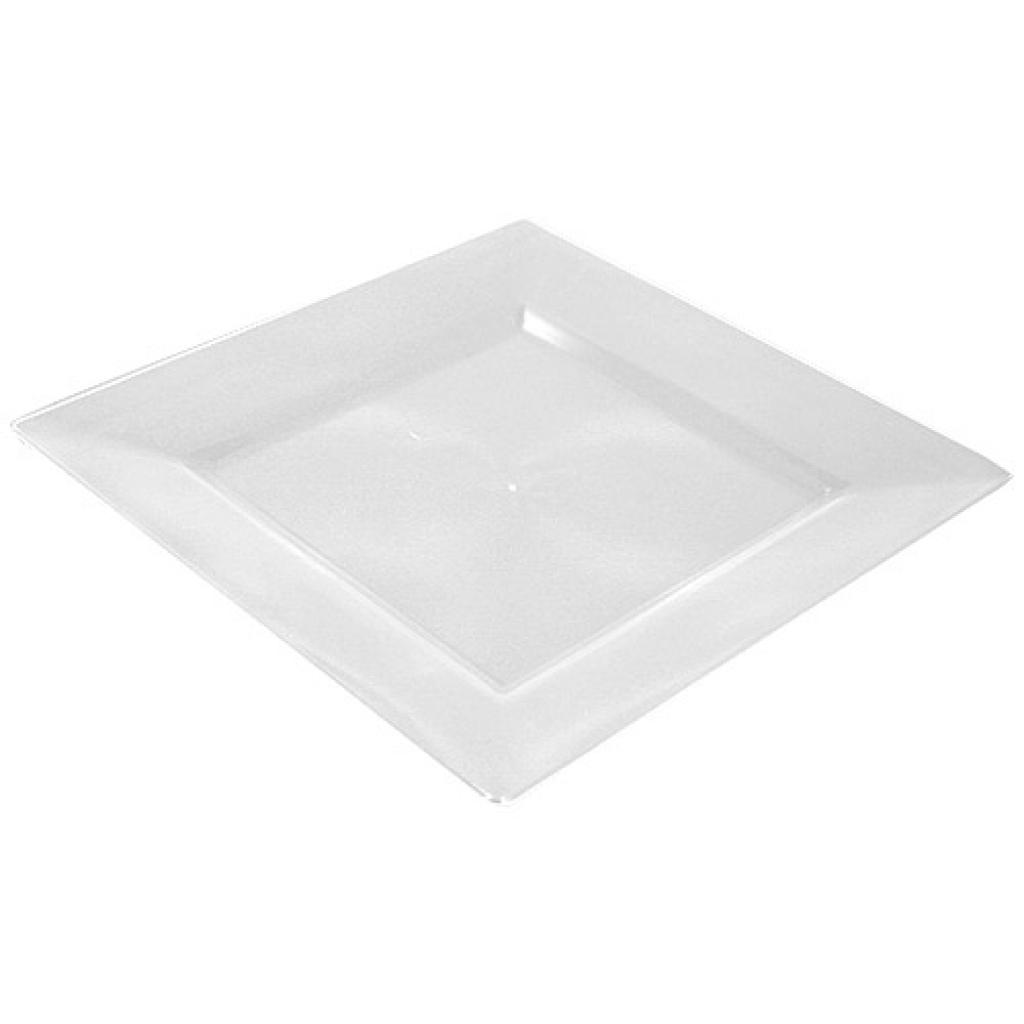Square, transparent, moulded PS plastic plate