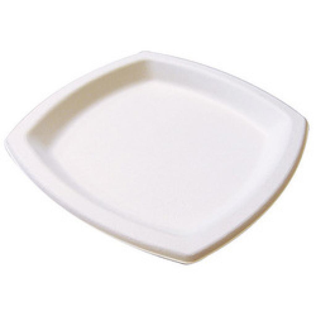 Assiette pulpe blanche carrée Ø 17 cm