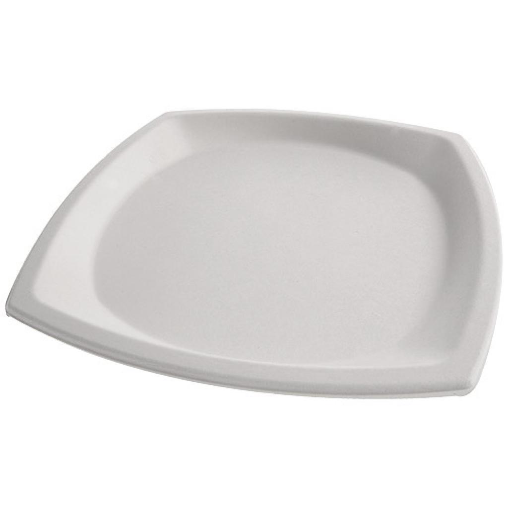 Square, white pulp plate Ø 25 cm 3