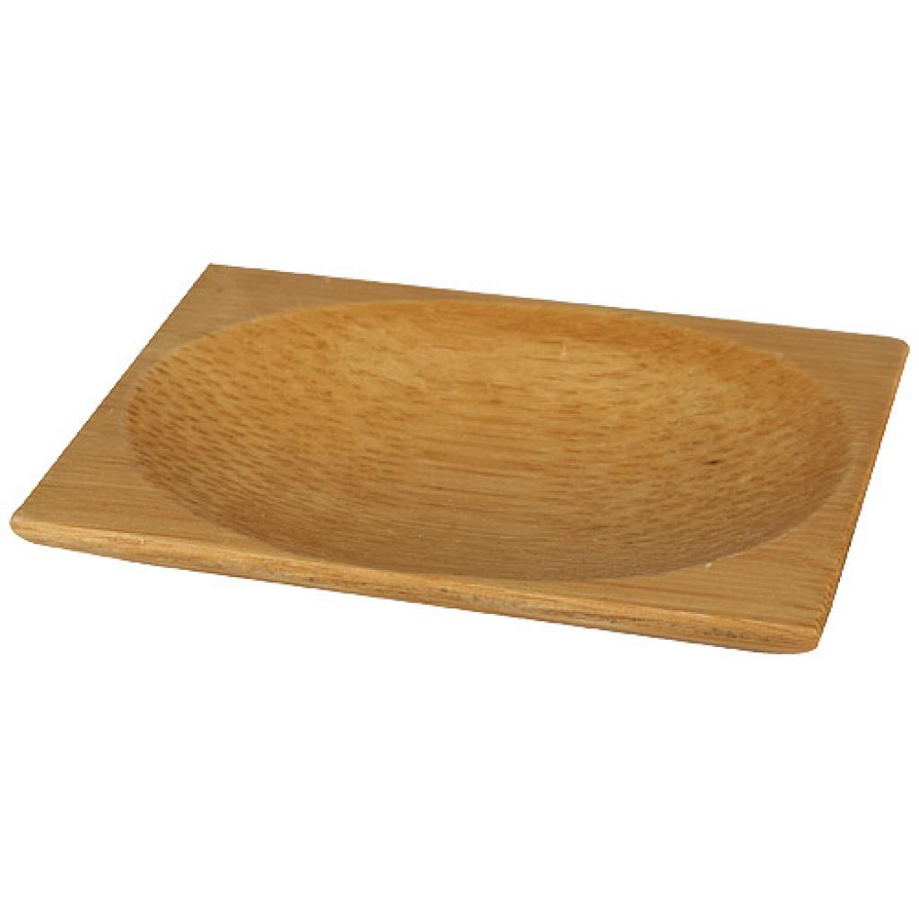 6cm square bamboo mini-plate with rounded interior