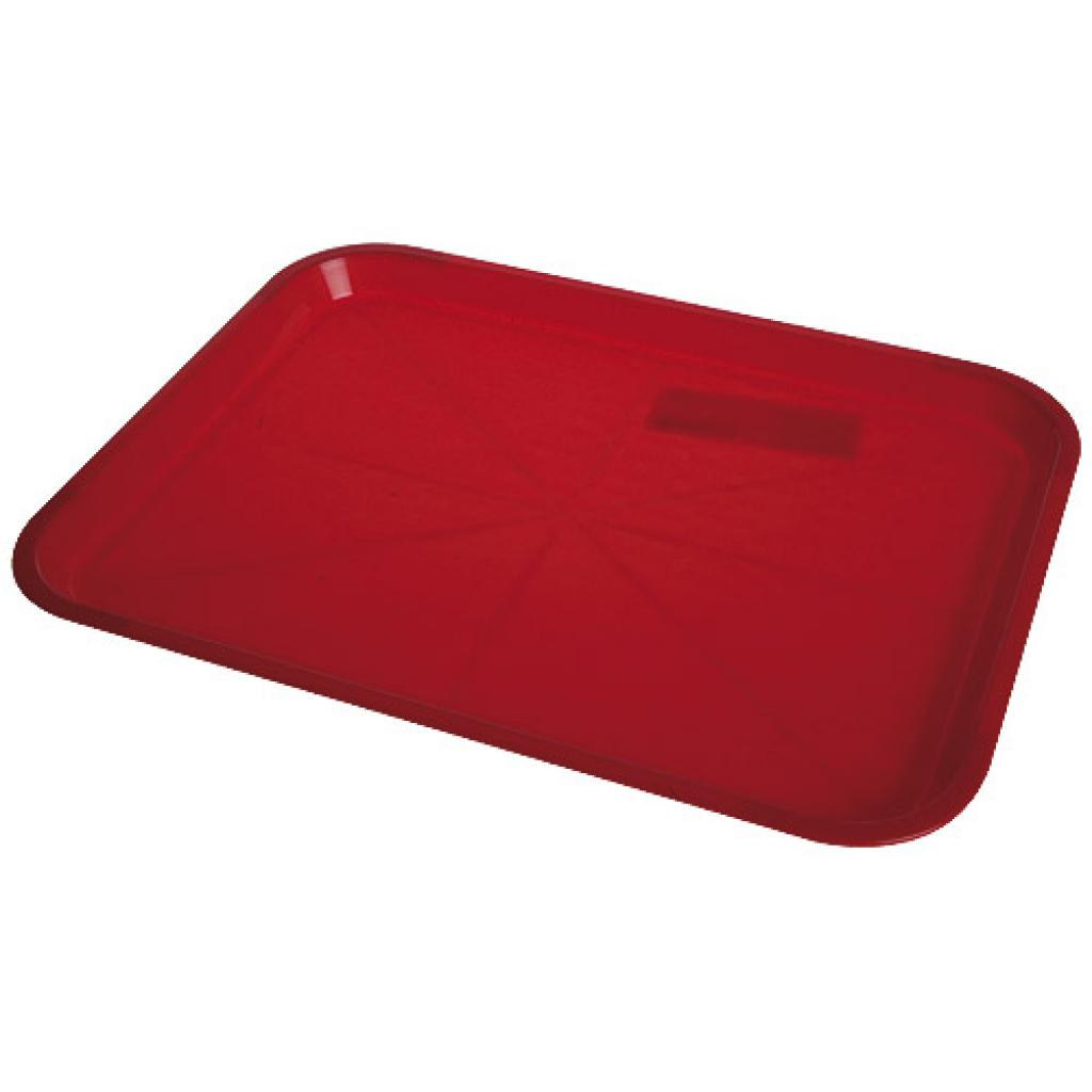 Red plastic fast food tray 34,5x26,5