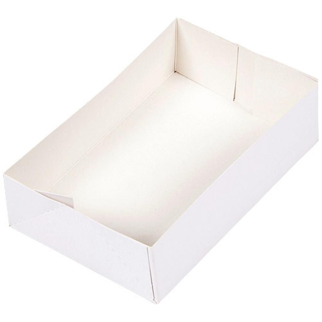 White paperboard pastry case 18x12x5 cm