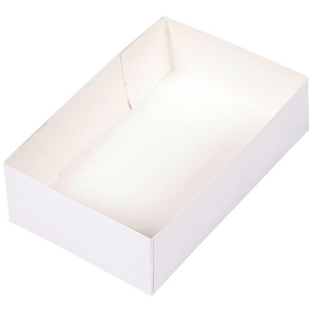 White paperboard pastry case 20x13x5 cm
