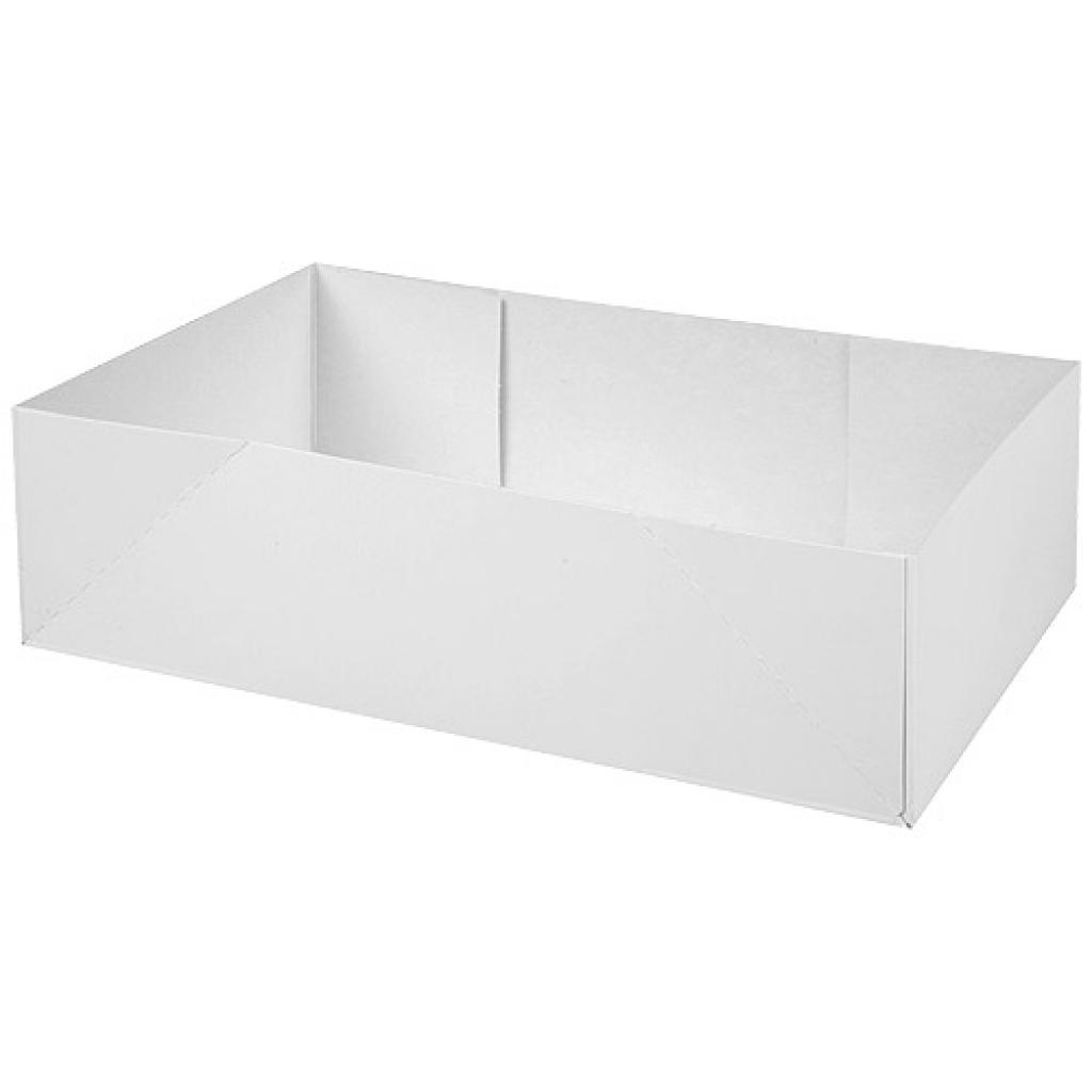 White paperboard pastry case 22x14x6 cm