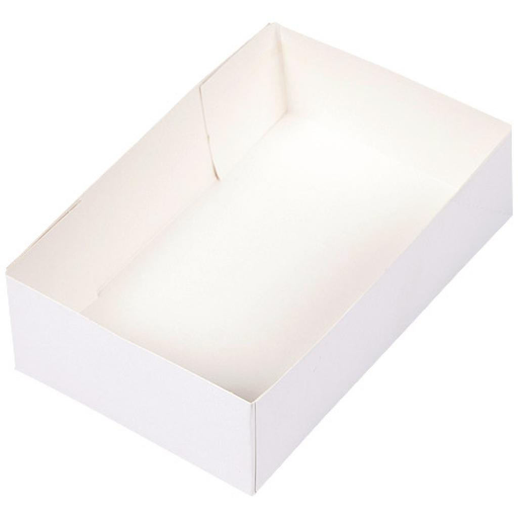 White paperboard pastry case 24x15x7 cm