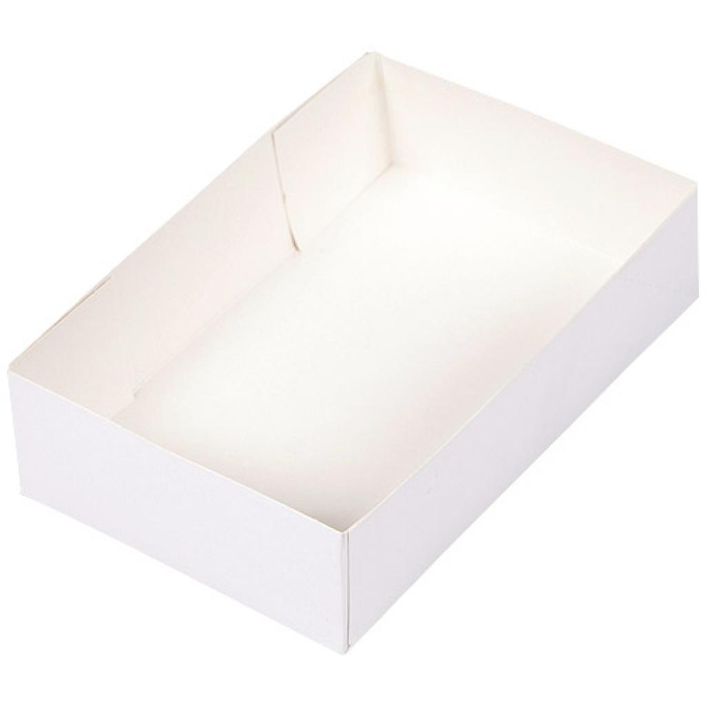 White paperboard pastry case 26x16,7x7 cm