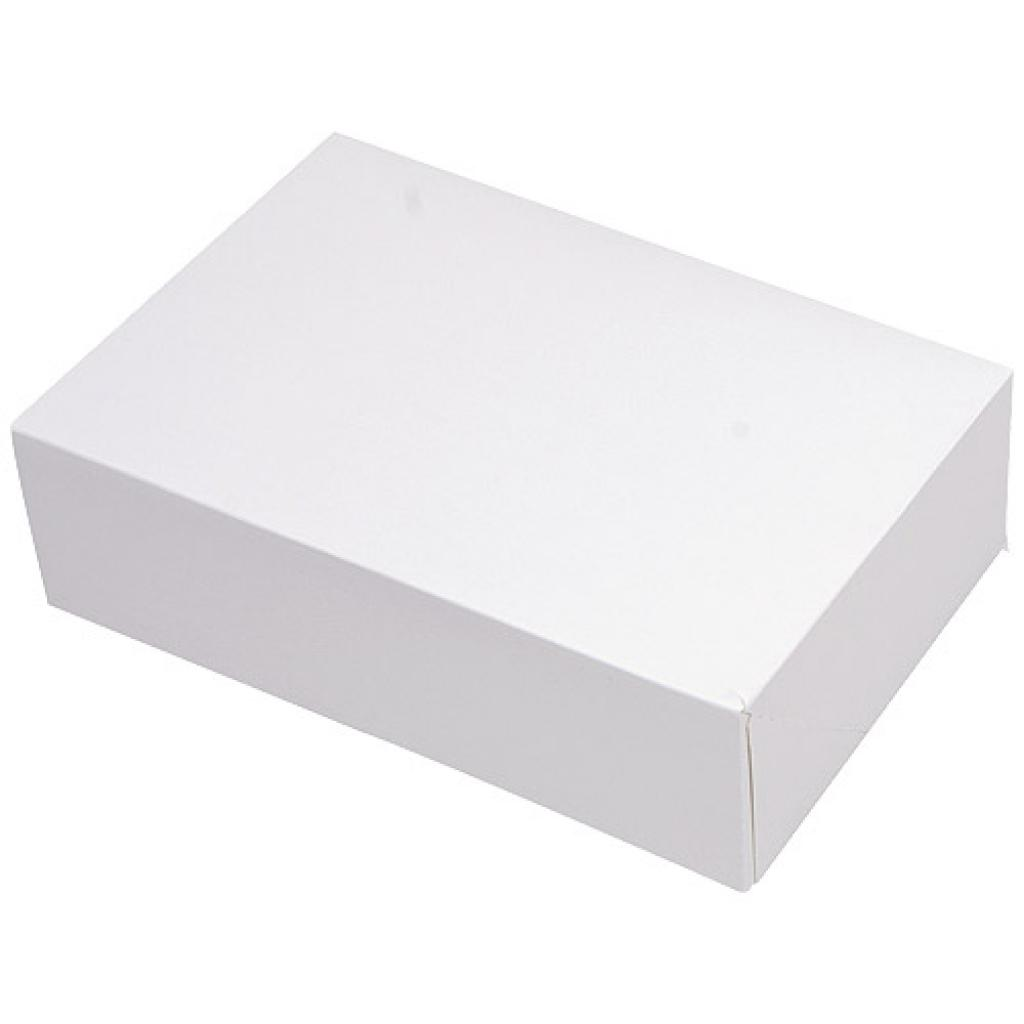 White paperboard pastry case 17x14x6 cm