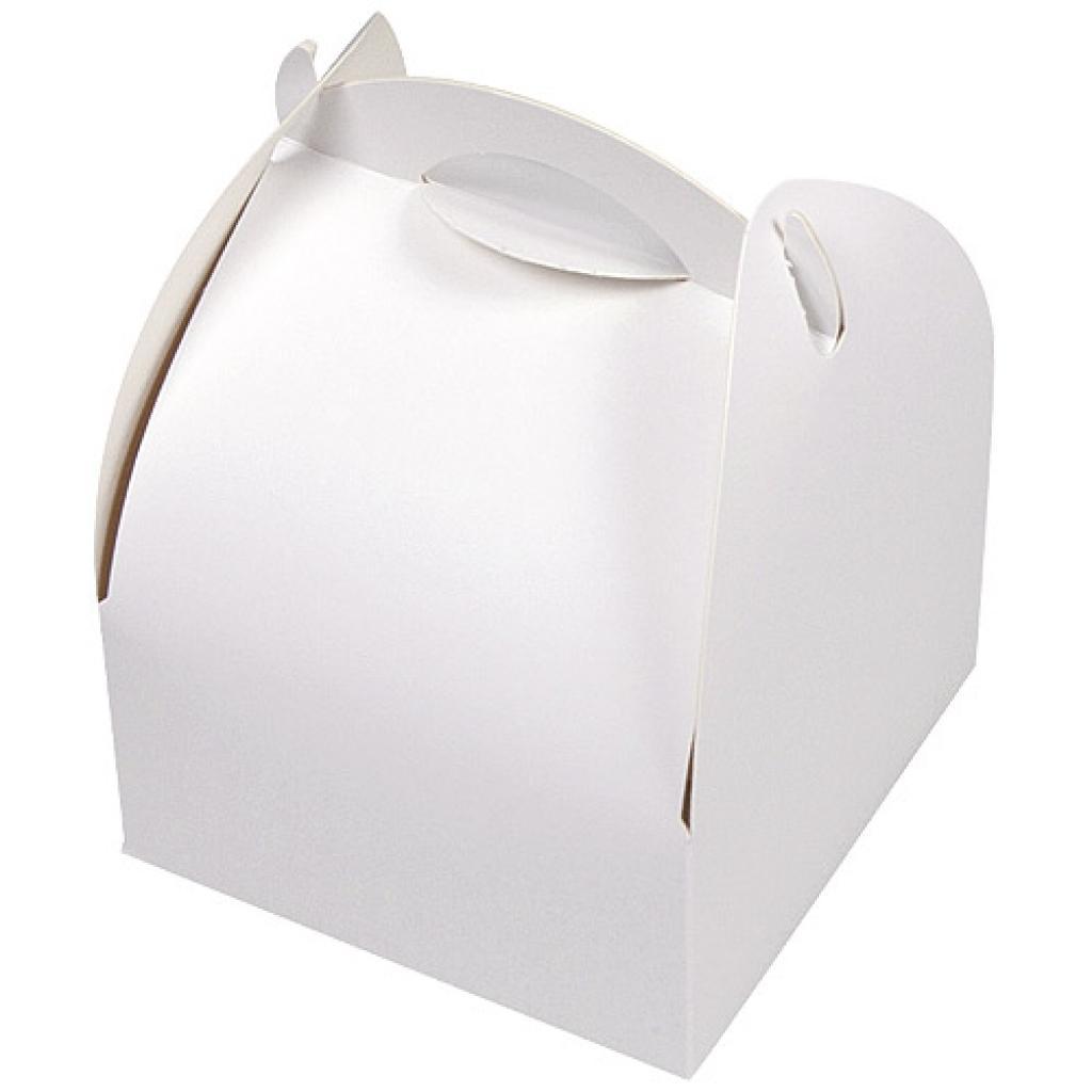 Pastry box with white handle 17x10x4.5 cm
