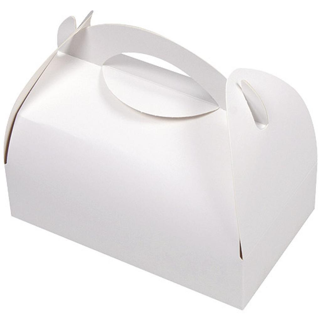 Pastry box with white handle 17x15.5x5.5 cm
