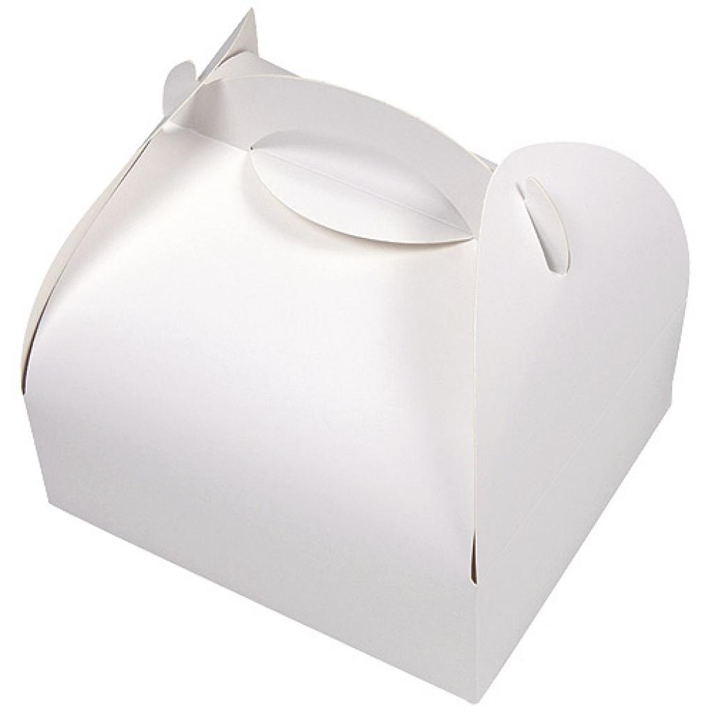 Pastry box with white handle 18x18x6 cm