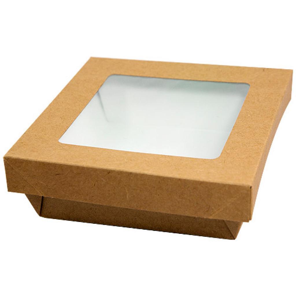 Brown windowed cardboard box with matching lid, 130x130x50mm