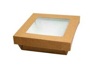 Brown windowed cardboard box with matching lid, 130x130x50mm
