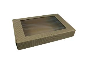 Brown kraft paperboard windowed case, 450x290x70