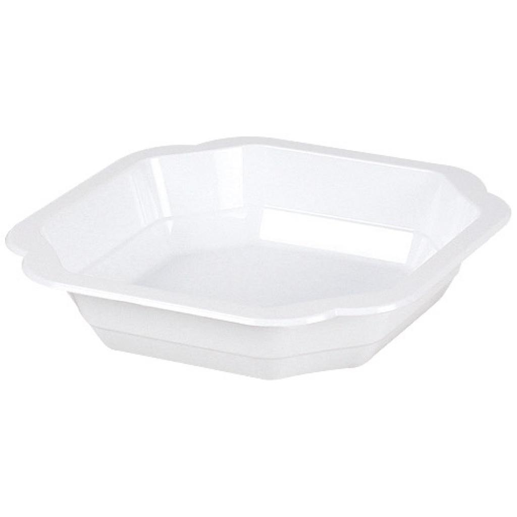 White, moulded PP plastic plate, depth 25mm 2