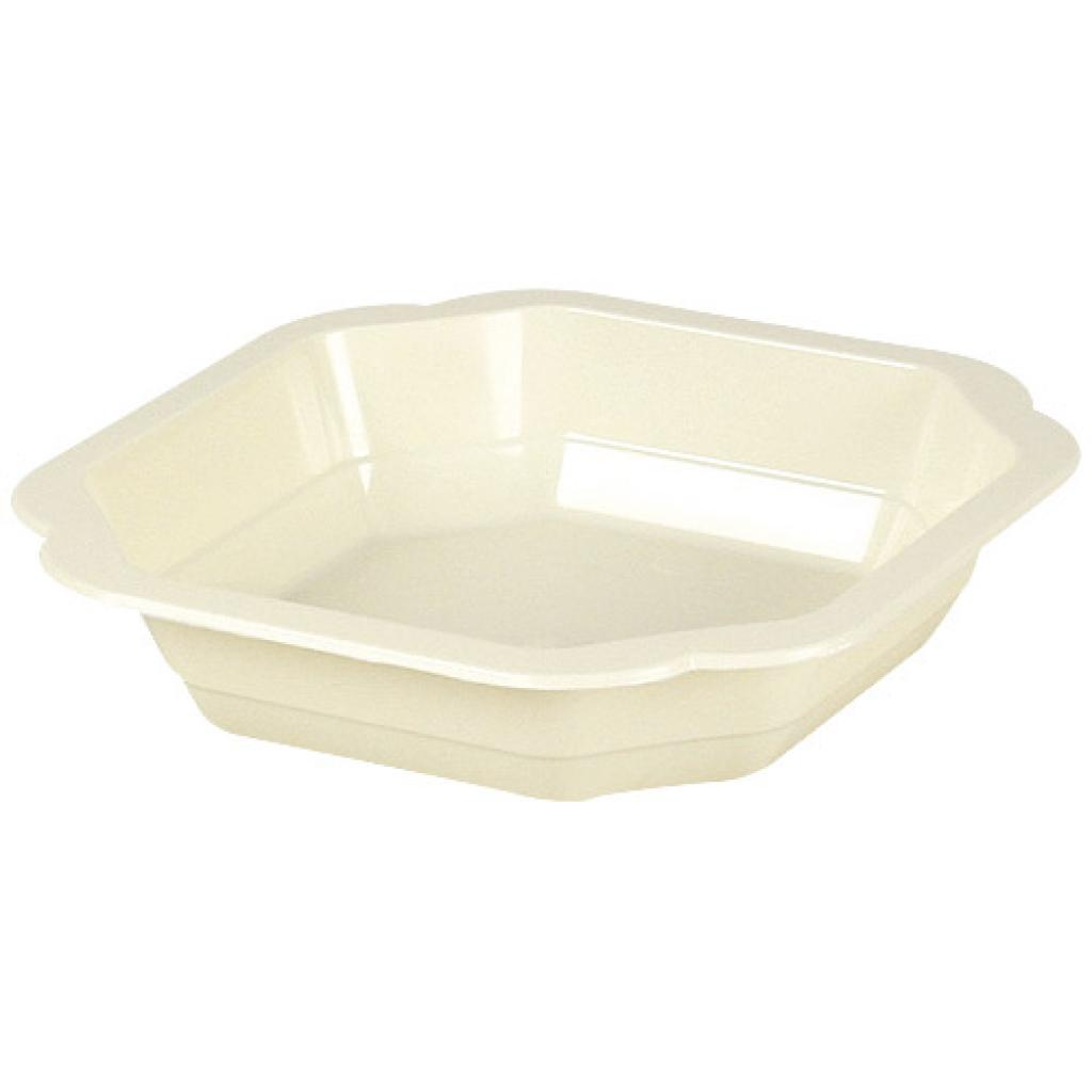 Beige PP plastic plate, depth 25 Ø 16 cm