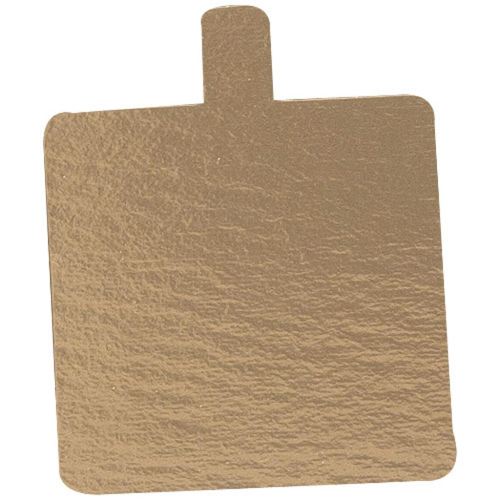 9.5x5.5cm rectangular gold-coloured cardboard tray with tab