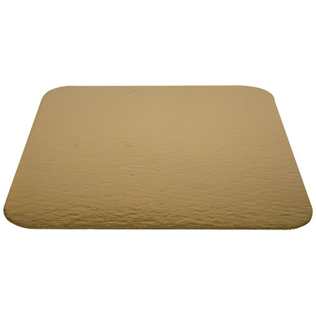 22cm square gold-coloured cardboard tray
