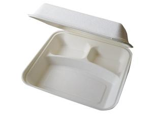 Triple compartment pulp hamburger box