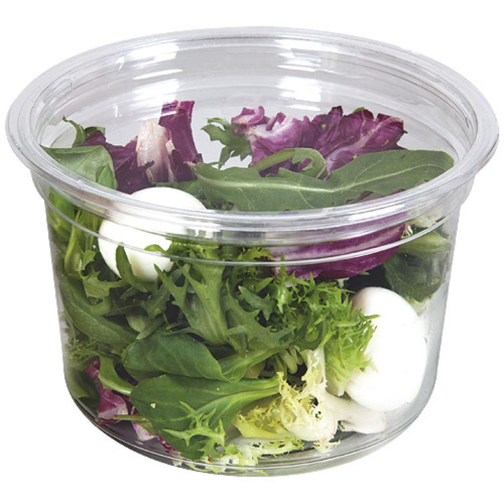 16oz - 48cl circular PET plastic salad bowl