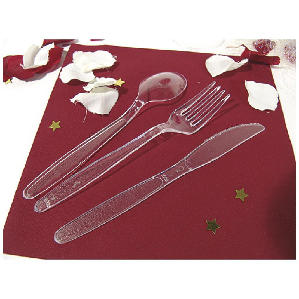 3 in 1 transparent plastic luxury cutlery sleeve