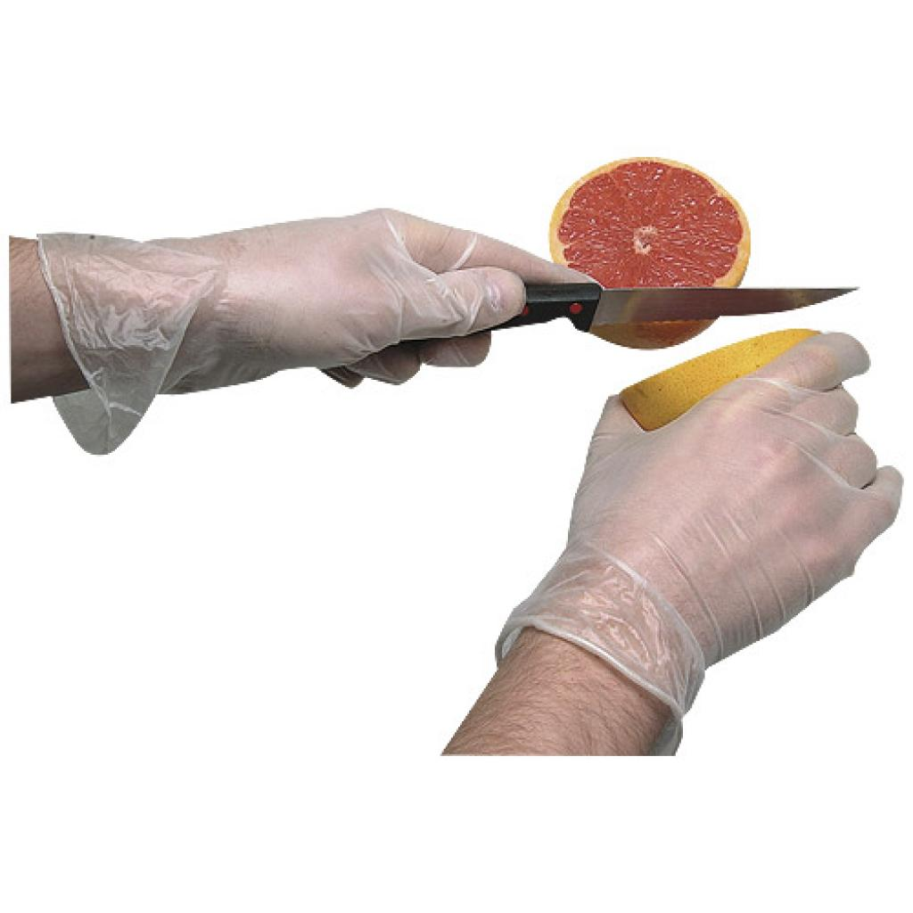 Small transparent powdered vinyl glove