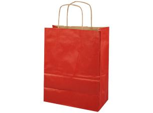 Red kraft paper bag with handles, 90g/m² 24x12x31 cm