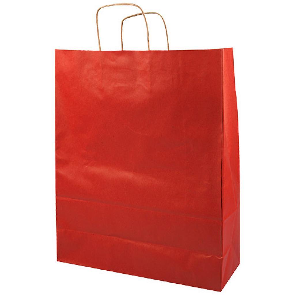 Red kraft paper bag with handles, 100g/m² 35x14x44 cm