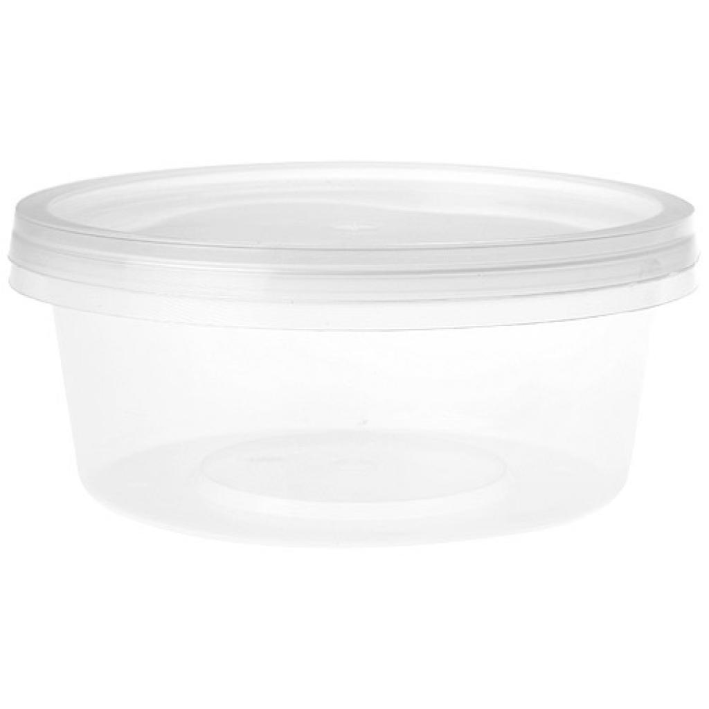 250ml transparent round PP plastic pot with matching lid