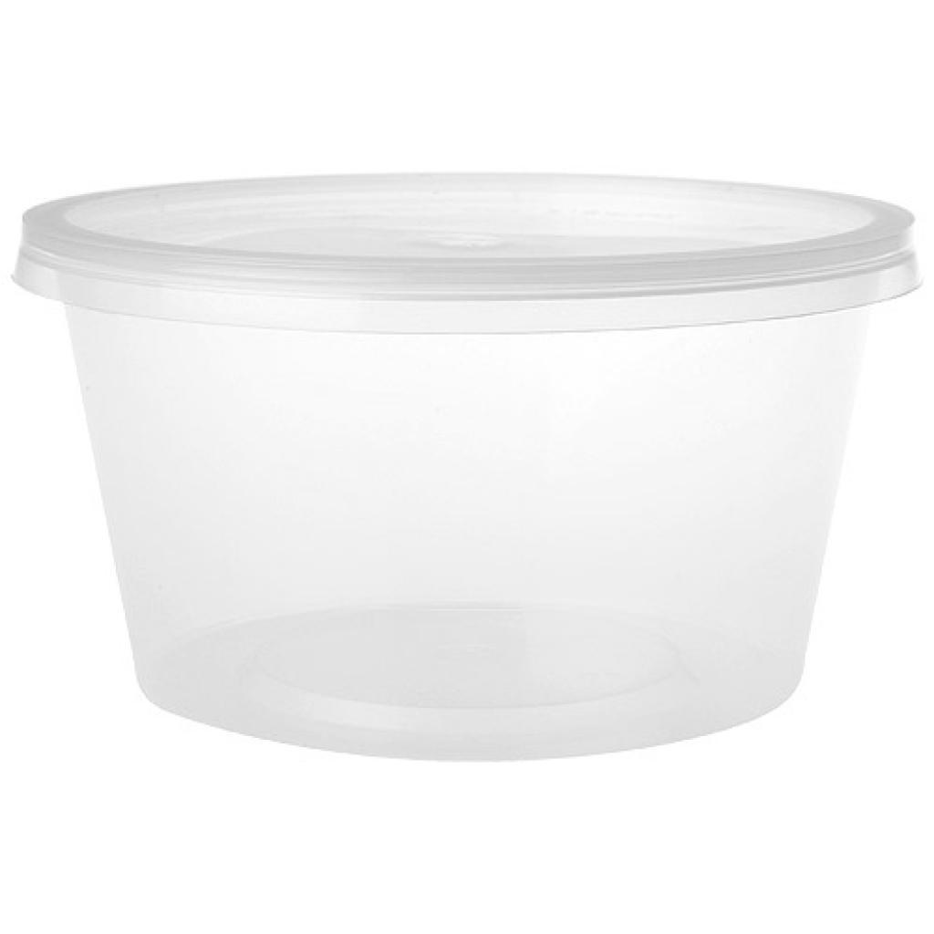 Pot rond plastique PP 450 ml avec couvercle