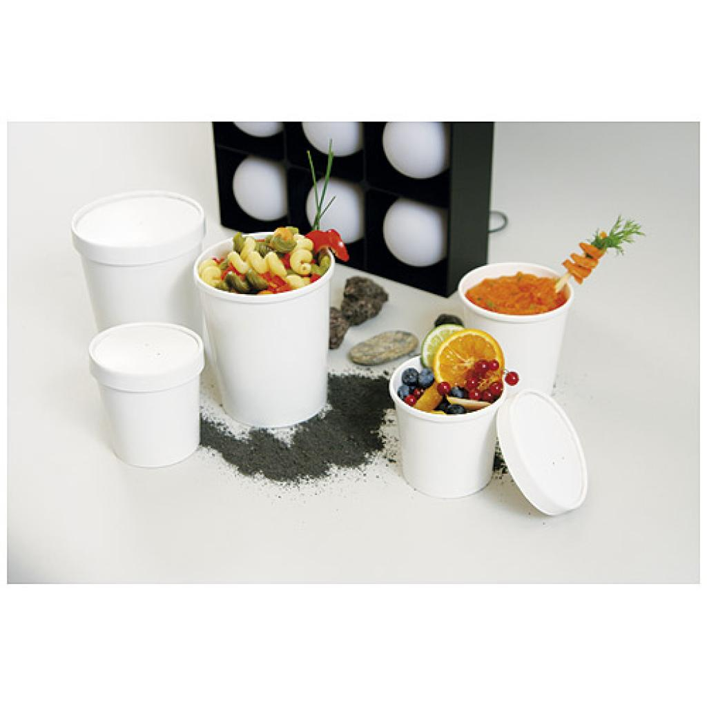 48cl / 16oz white paperboard soup cup with matching lid 2