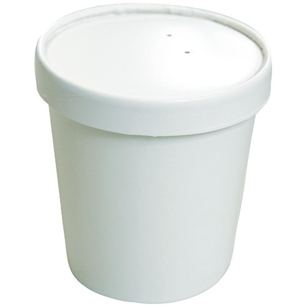 48cl / 16oz white paperboard soup cup with matching lid