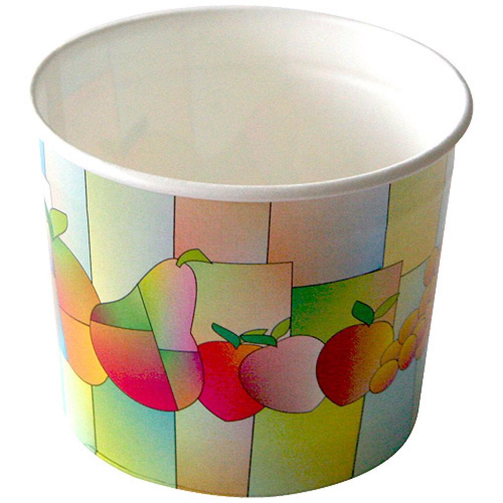 2-scoop paperboard fruit-print ice cream cup