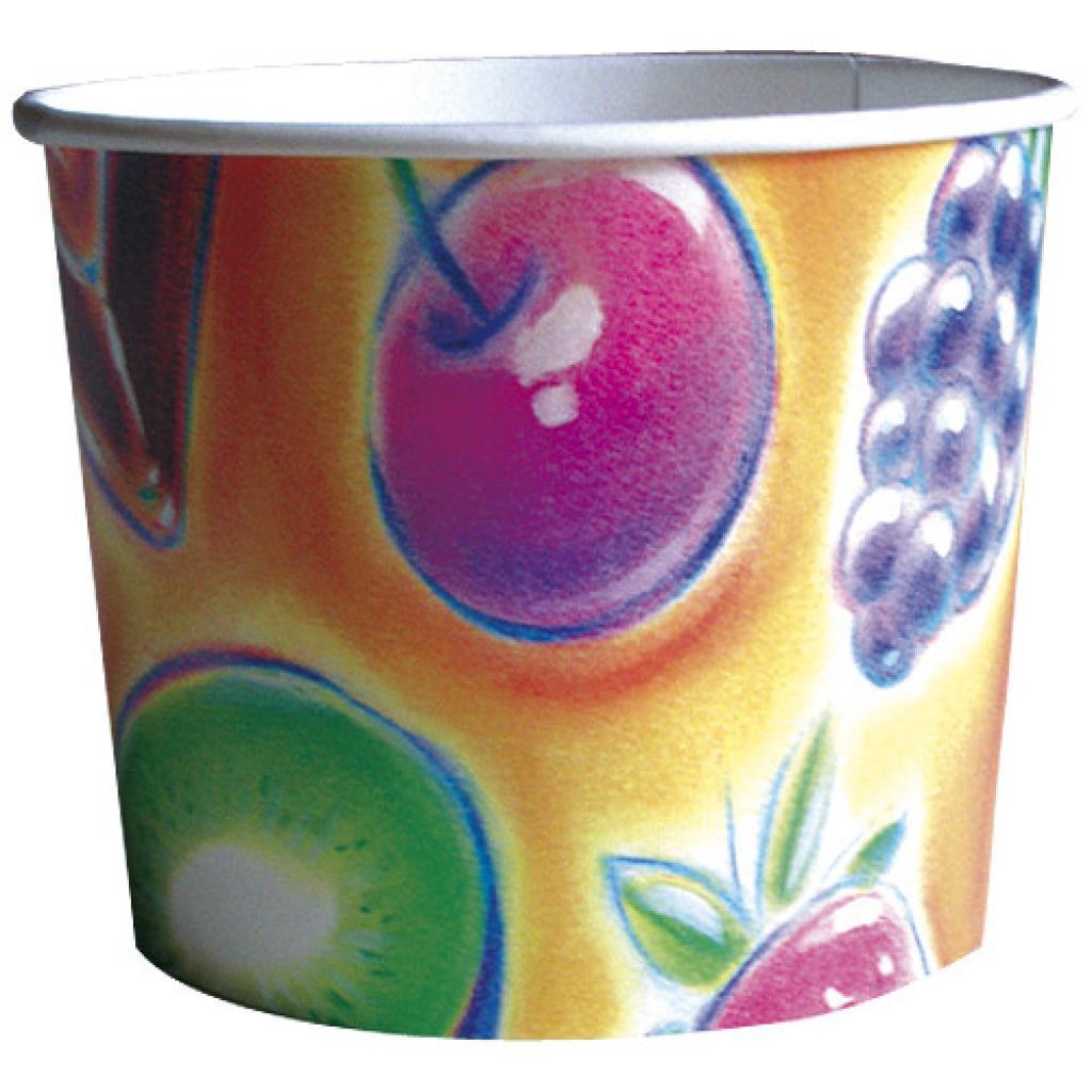 3-scoop paperboard fruit-print ice cream cup