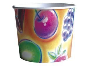 3-scoop paperboard fruit-print ice cream cup