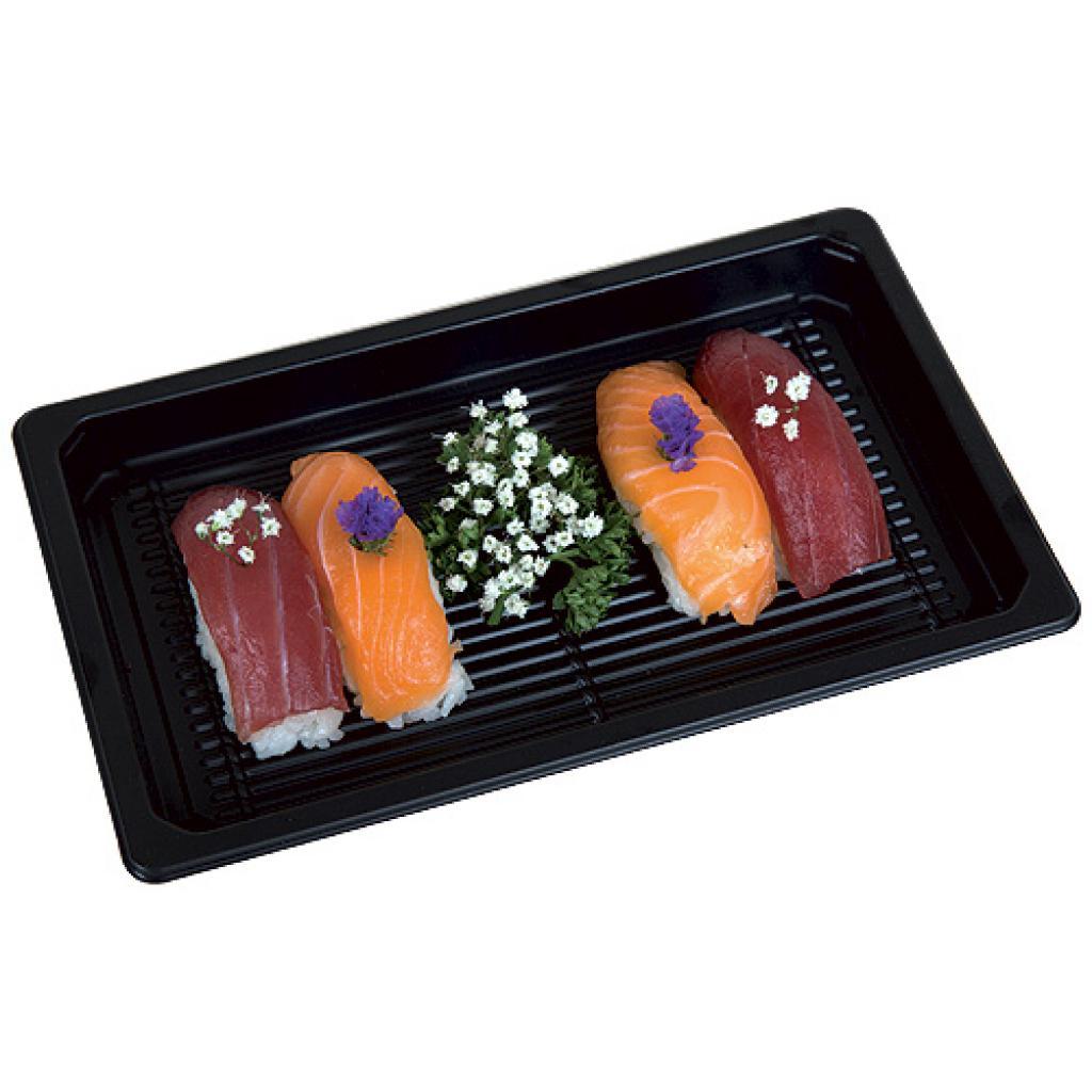 Plat à sushi en plastique PET noir 215x135x20mm 2
