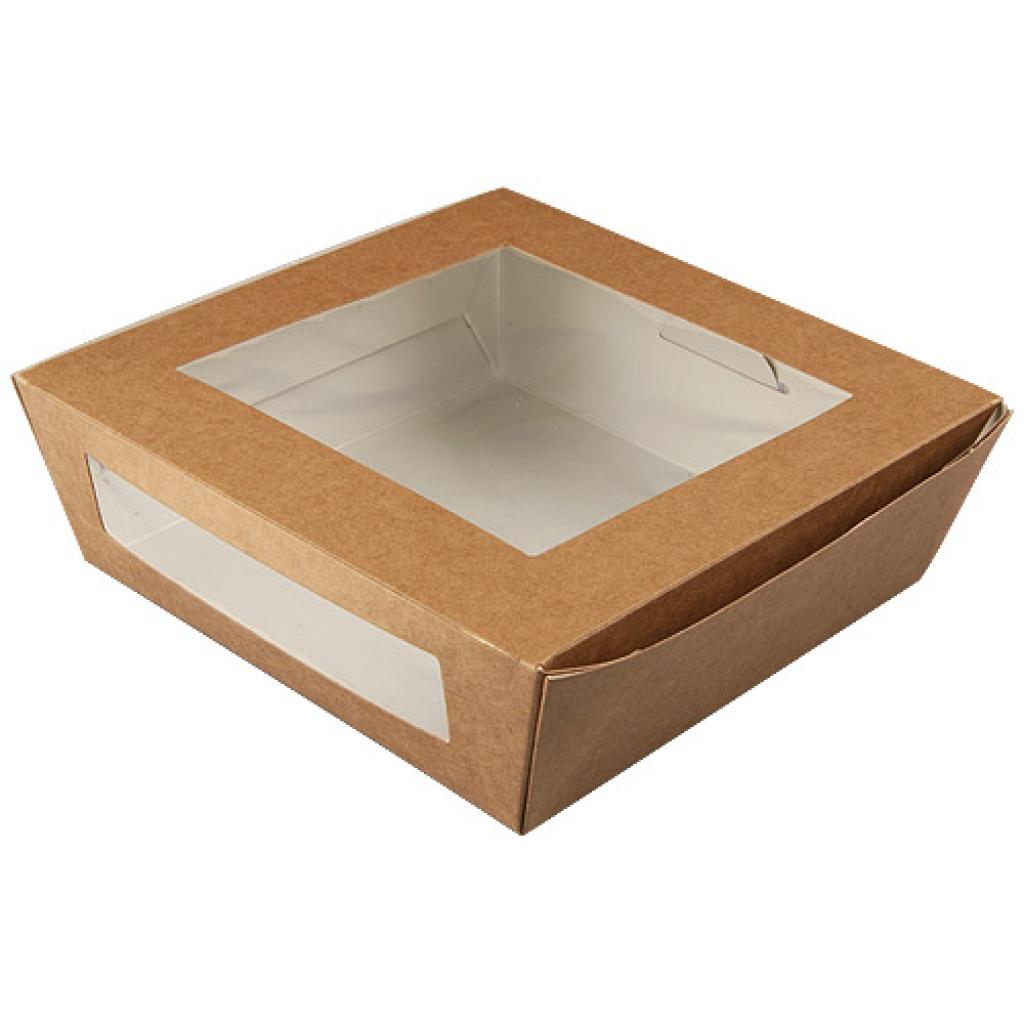 157x160x50mm, 2-windowed brown kraft paperboard salad box 3