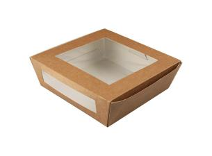157x160x53mm, 2-windowed brown kraft paperboard salad boxes