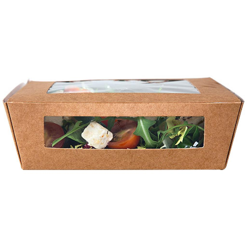 157x160x50mm, 2-windowed brown kraft paperboard salad box 2