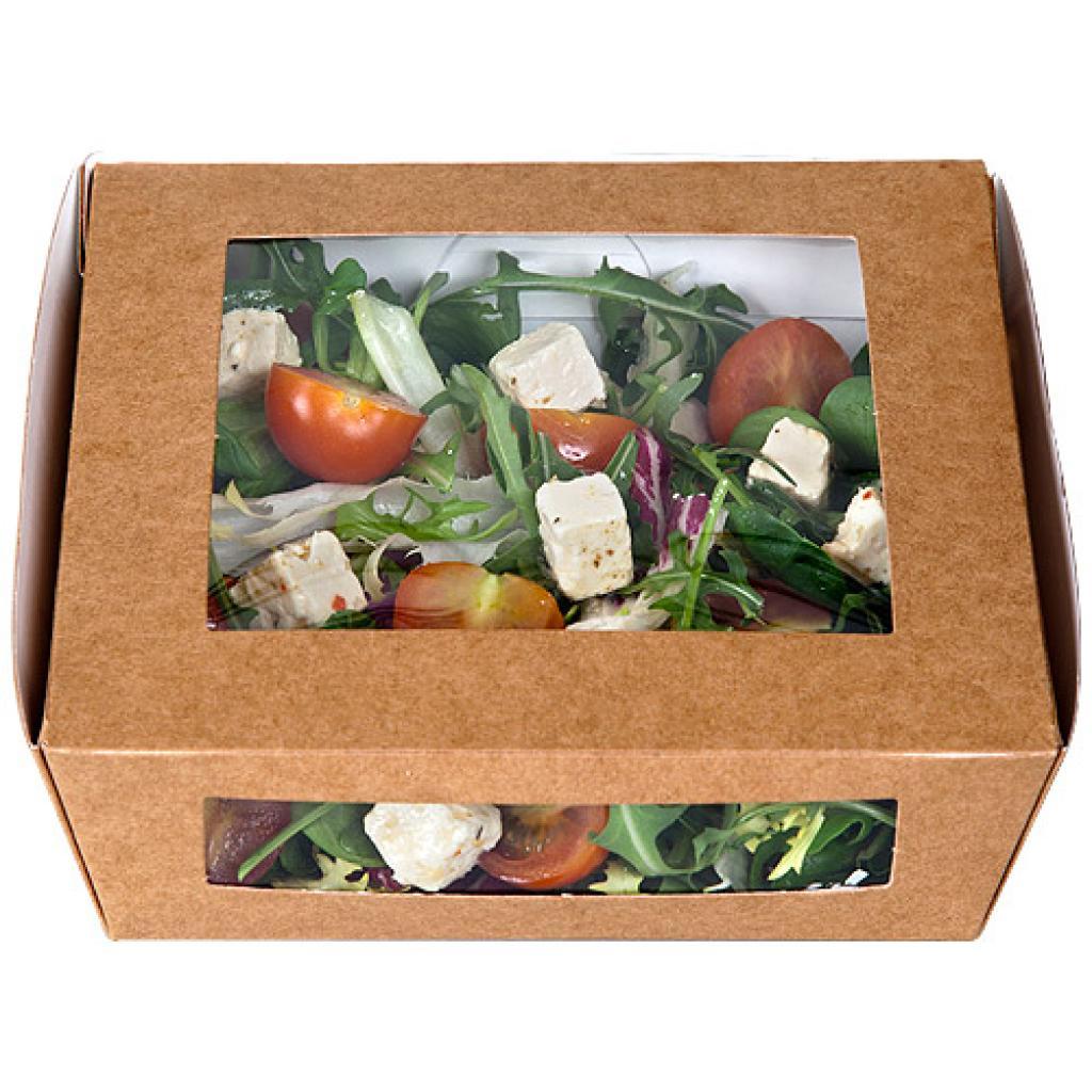Brown 2-windowed kraft paperboard salad box, 190x190x50mm