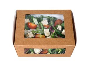 Brown 2-windowed kraft paperboard salad box, 140x140x50mm