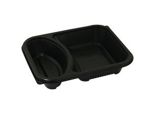 284cc/596cc two-compartment black PP container