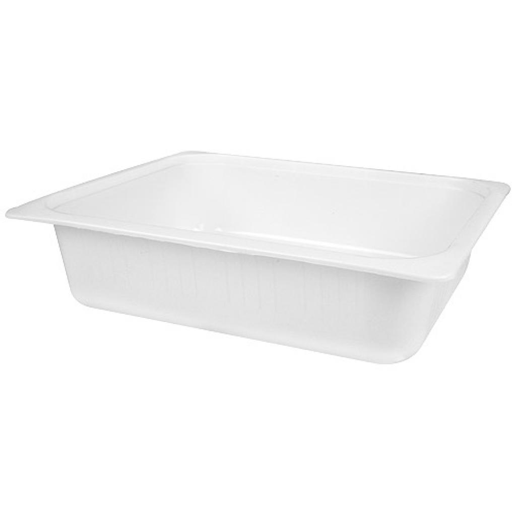 White ½ plastic container, 80mm depth