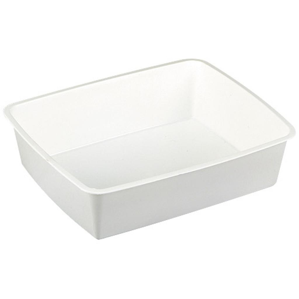 White GN ½  plastic container, 80mm depth
